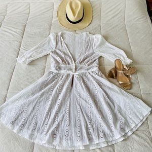 ✨ Free People White Dress w/ Nude Lining sz Med